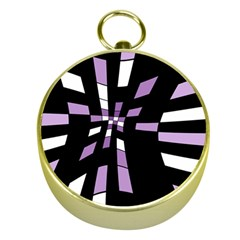 Purple Abstraction Gold Compasses by Valentinaart