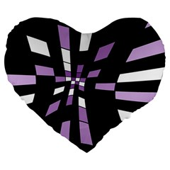 Purple Abstraction Large 19  Premium Flano Heart Shape Cushions by Valentinaart