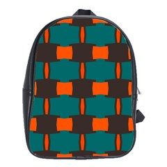 3 Colors Shapes Pattern                                                                                  			school Bag (large) by LalyLauraFLM