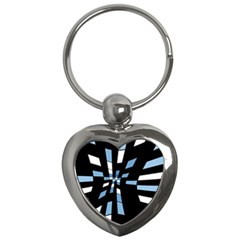 Blue Abstraction Key Chains (heart)  by Valentinaart