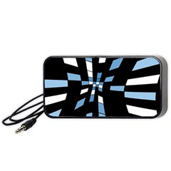 Blue Abstraction Portable Speaker (black)  by Valentinaart