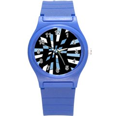 Blue Abstraction Round Plastic Sport Watch (s) by Valentinaart