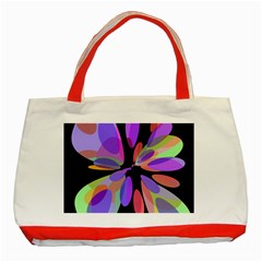 Colorful Abstract Flower Classic Tote Bag (red) by Valentinaart