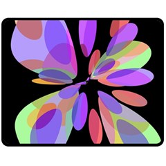 Colorful Abstract Flower Double Sided Fleece Blanket (medium)  by Valentinaart