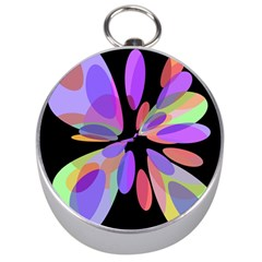 Colorful Abstract Flower Silver Compasses by Valentinaart