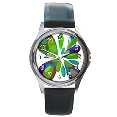 Green Abstract Flower Round Metal Watch by Valentinaart