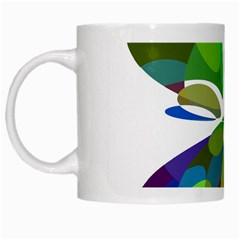 Green Abstract Flower White Mugs by Valentinaart