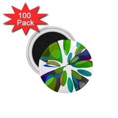 Green Abstract Flower 1 75  Magnets (100 Pack)  by Valentinaart