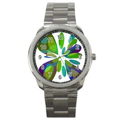 Green Abstract Flower Sport Metal Watch by Valentinaart