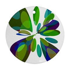 Green Abstract Flower Round Ornament (two Sides)  by Valentinaart