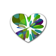 Green Abstract Flower Heart Coaster (4 Pack)  by Valentinaart