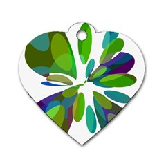 Green Abstract Flower Dog Tag Heart (one Side) by Valentinaart
