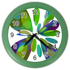 Green Abstract Flower Color Wall Clocks by Valentinaart