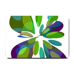 Green Abstract Flower Small Doormat  by Valentinaart