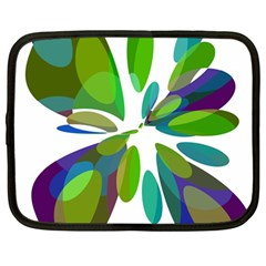 Green Abstract Flower Netbook Case (large) by Valentinaart