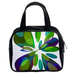 Green Abstract Flower Classic Handbags (2 Sides) by Valentinaart