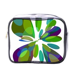 Green Abstract Flower Mini Toiletries Bags by Valentinaart