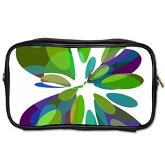 Green Abstract Flower Toiletries Bags by Valentinaart