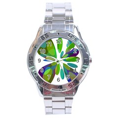 Green Abstract Flower Stainless Steel Analogue Watch by Valentinaart