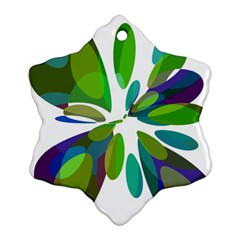 Green Abstract Flower Ornament (snowflake)  by Valentinaart