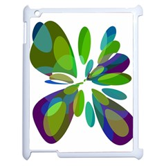 Green Abstract Flower Apple Ipad 2 Case (white) by Valentinaart