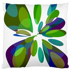 Green Abstract Flower Large Cushion Case (one Side) by Valentinaart