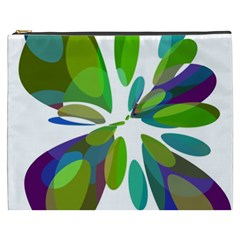 Green Abstract Flower Cosmetic Bag (xxxl)  by Valentinaart