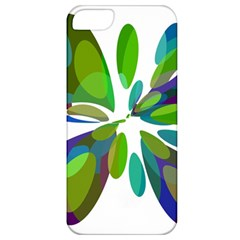 Green Abstract Flower Apple Iphone 5 Classic Hardshell Case by Valentinaart