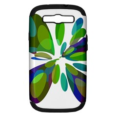 Green Abstract Flower Samsung Galaxy S Iii Hardshell Case (pc+silicone) by Valentinaart
