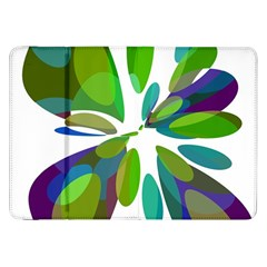 Green Abstract Flower Samsung Galaxy Tab 8 9  P7300 Flip Case by Valentinaart