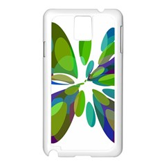 Green Abstract Flower Samsung Galaxy Note 3 N9005 Case (white) by Valentinaart