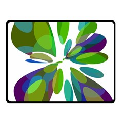 Green Abstract Flower Double Sided Fleece Blanket (small)  by Valentinaart