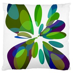 Green Abstract Flower Large Flano Cushion Case (two Sides) by Valentinaart
