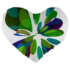 Green Abstract Flower Large 19  Premium Flano Heart Shape Cushions by Valentinaart