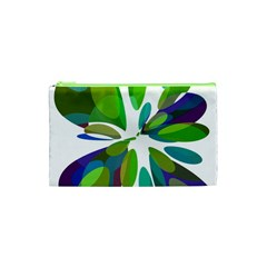 Green Abstract Flower Cosmetic Bag (xs) by Valentinaart