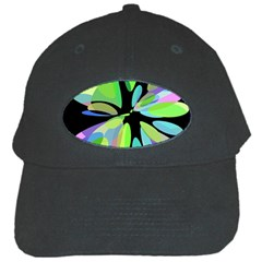 Green Abstract Flower Black Cap