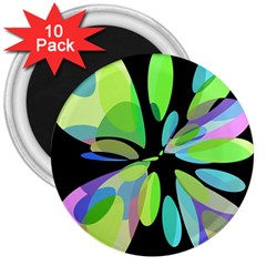 Green Abstract Flower 3  Magnets (10 Pack)  by Valentinaart