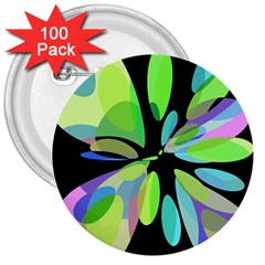 Green Abstract Flower 3  Buttons (100 Pack)  by Valentinaart