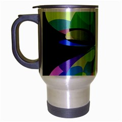 Green Abstract Flower Travel Mug (silver Gray) by Valentinaart