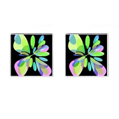 Green Abstract Flower Cufflinks (square)