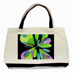 Green Abstract Flower Basic Tote Bag by Valentinaart