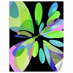 Green Abstract Flower Canvas 12  X 16   by Valentinaart