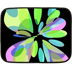Green Abstract Flower Double Sided Fleece Blanket (mini)  by Valentinaart