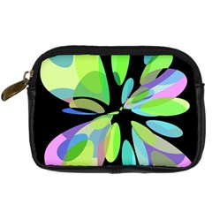 Green Abstract Flower Digital Camera Cases by Valentinaart
