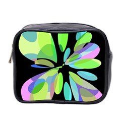 Green Abstract Flower Mini Toiletries Bag 2 Side by Valentinaart