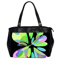 Green Abstract Flower Office Handbags (2 Sides)  by Valentinaart