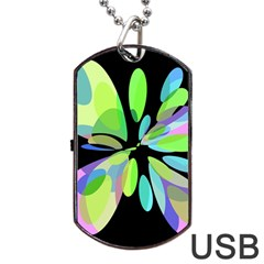 Green Abstract Flower Dog Tag Usb Flash (one Side) by Valentinaart