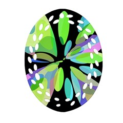 Green Abstract Flower Ornament (oval Filigree)  by Valentinaart