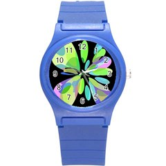 Green Abstract Flower Round Plastic Sport Watch (s) by Valentinaart