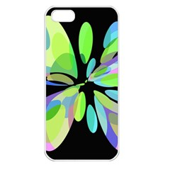 Green Abstract Flower Apple Iphone 5 Seamless Case (white) by Valentinaart